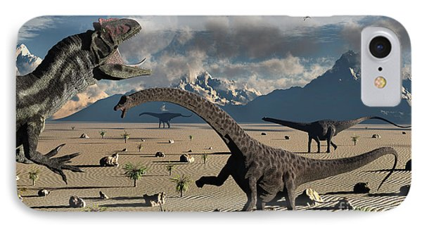 An Allosaurus Confronts A Small Group Phone Case by Mark Stevenson