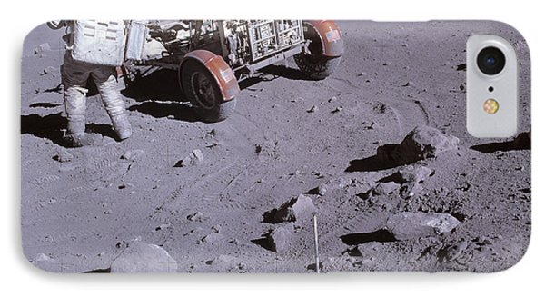 An Astronaut And A Lunar Roving Vehicle Phone Case by Stocktrek Images