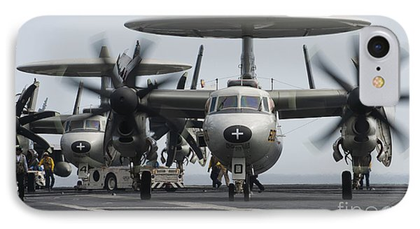 An E-2c Hawkeye Aircraft On The Flight Phone Case by Stocktrek Images