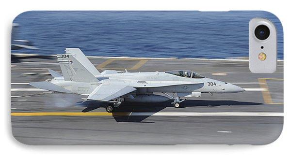 An Fa-18c Hornet Lands Aboard Uss Phone Case by Stocktrek Images