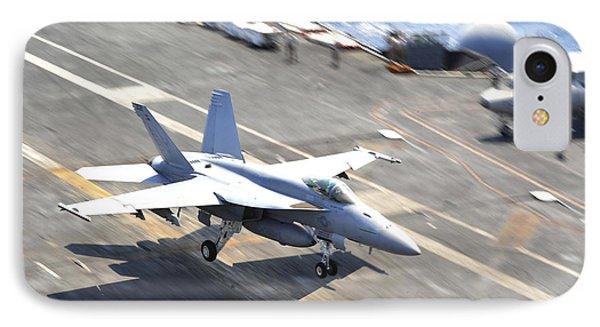 An Fa-18e Super Hornet Lands Aboard Phone Case by Stocktrek Images