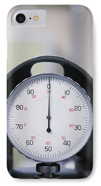An Industrial Gauge In A Factory. Dial IPhone Case by Roberto Westbrook
