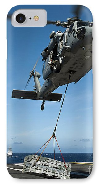An Mh-60s Sea Hawk Helicopter Lowers Phone Case by Stocktrek Images