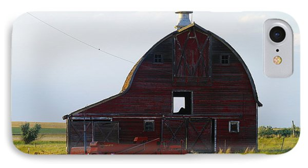 an old barn and bailor in Eastern Montana Phone Case by Jeff Swan