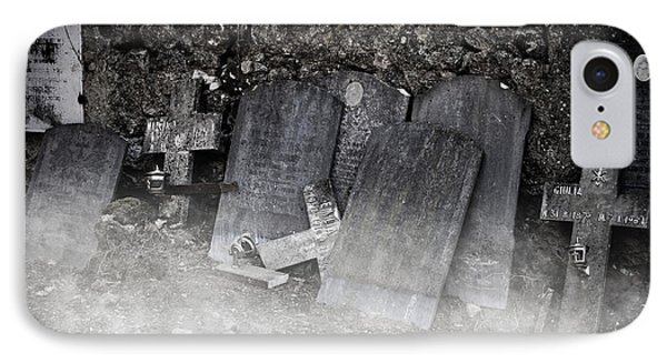 An Old Cemetery With Grave Stones And Fog Phone Case by Joana Kruse