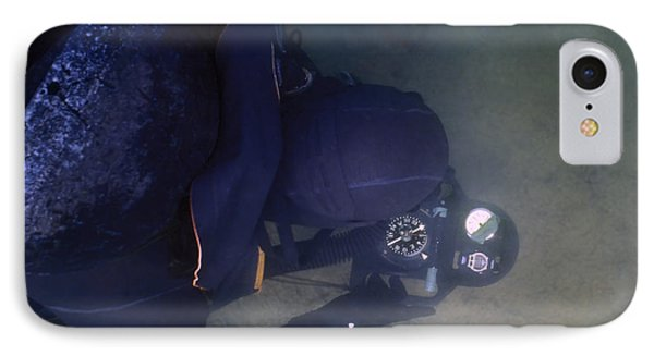An Over The Shoulder View Of A Navy Phone Case by Michael Wood