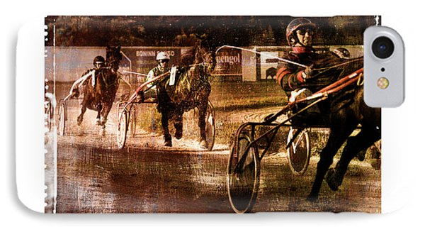 IPhone Case featuring the photograph and the winner is - A vintage processed Menorca trotting race by Pedro Cardona