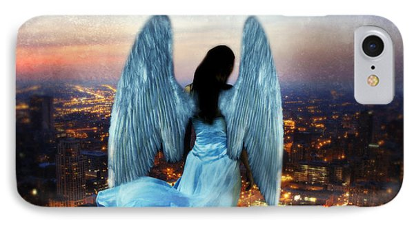 Angel On Rocky Ledge Above City At Night Phone Case by Jill Battaglia