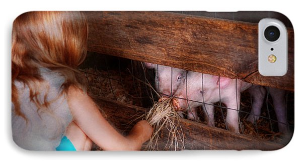 Animal - Pig - Feeding Piglets  IPhone Case by Mike Savad