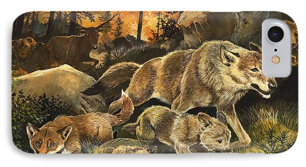Animals United In Terror As They Flee From A Forest Fire Phone Case by G W Backhouse