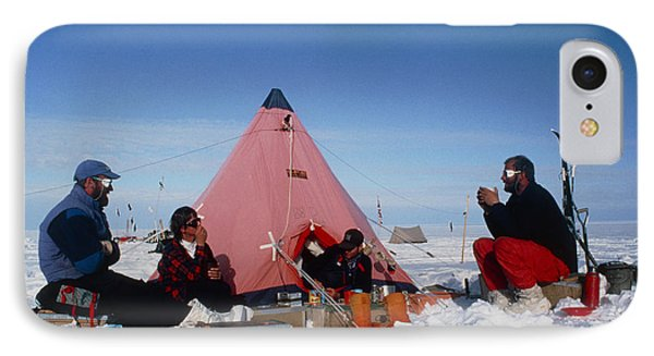 Antarctic Research Team Relaxing Outside Tent Phone Case by David Vaughan