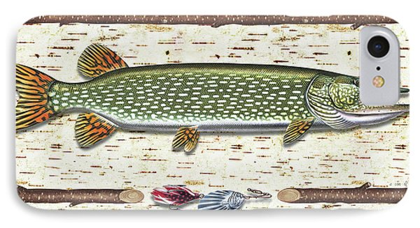 Antique Birch Pike And Lure Phone Case by JQ Licensing