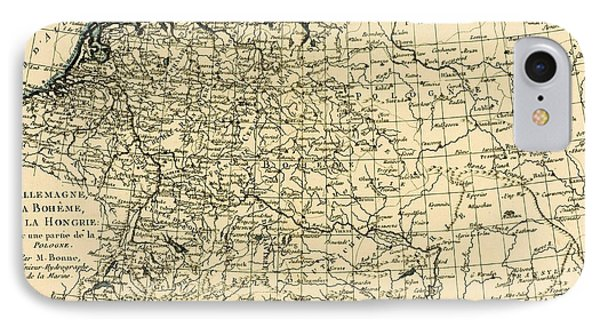 Antique Map Of Germany Bohemia And Hungary With Part Of Poland Phone Case by Guillaume Raynal