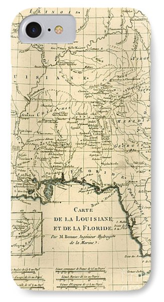 Antique Map Of Louisiana And Florida Phone Case by Guillaume Raynal
