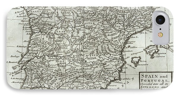 Antique Map Of Spain And Portugal Phone Case by Hermann Moll