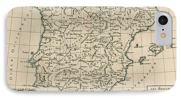 Antique Map Of Spain Phone Case by Guillaume Raynal