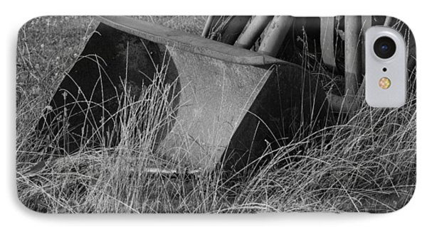 Antique Tractor Bucket In Black And White Phone Case by Jennifer Ancker