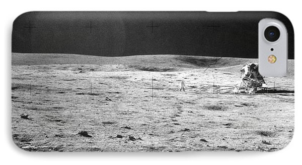 Apollo 14 & Shepard On Moon Near Fra IPhone Case by NASA / Science Source