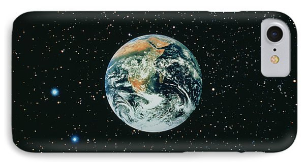 Apollo 17 View Of Earth With Starfield Phone Case by NASA / Science Source