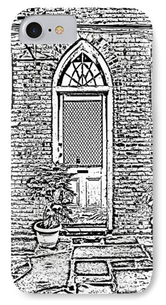 Arched Doorway French Quarter New Orleans Photocopy Digital Art Phone Case by Shawn O'Brien