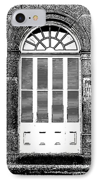 Arched White Shuttered Window French Quarter New Orleans Photocopy Digital Art  Phone Case by Shawn O'Brien