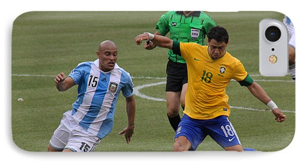 Argentina Vs Brazil Battle IPhone Case by Lee Dos Santos