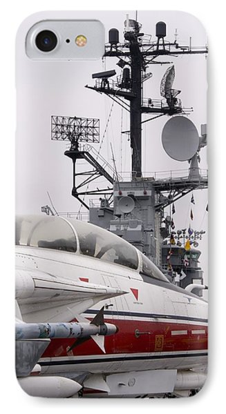 Armed Military Jet On Aircraft Carrier. IPhone Case by Mark Williamson
