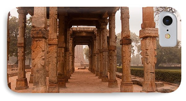 Artistic Pillars Are All That Remain Of This Old Monument Inside The Qutub Minar Complex Phone Case by Ashish Agarwal