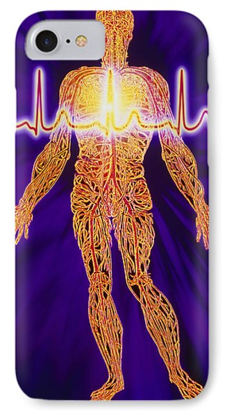 Artwork Of Human Venous System And Ecg Heart Trace Phone Case by Mehau Kulyk