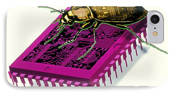 Artwork Of Millennium Bug With Beetle On Microchip Phone Case by Victor Habbick Visions