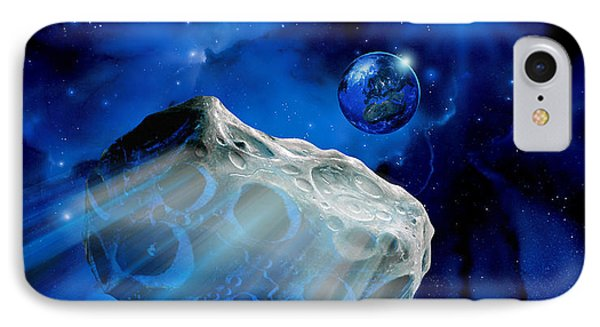 Asteroid Approaching Earth Phone Case by Detlev Van Ravenswaay