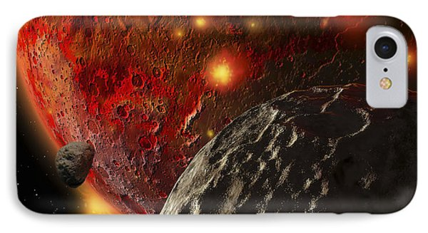 Asteroid Impacts On The Early Earth IPhone Case by Ron Miller