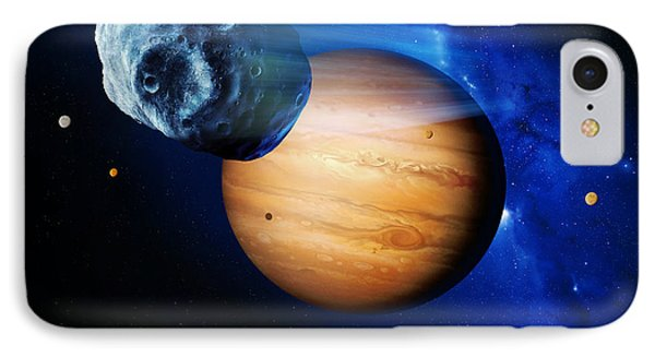 Asteroid Passing Jupiter Phone Case by Detlev Van Ravenswaay