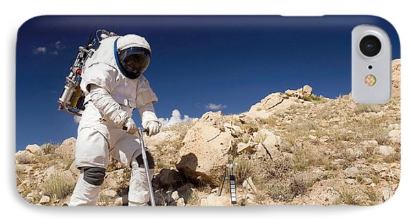 Astronaut Stands Beside A Core Sampling Phone Case by Stocktrek Images