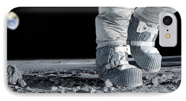 Astronaut Walking On The Moon Phone Case by Detlev Van Ravenswaay