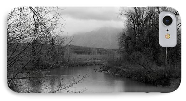 IPhone Case featuring the photograph At The River Turn Bw by Kathleen Grace