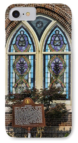 Athens Alabama First Presbyterian Church Stained Glass Window Phone Case by Kathy Clark