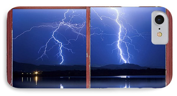 August 5th Lightning Storm Red Picture Window Frame Photo Art Phone Case by James BO  Insogna