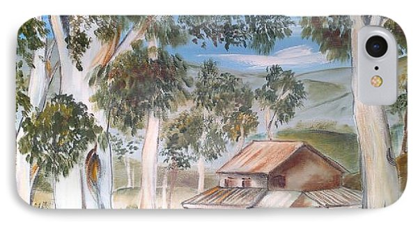 IPhone Case featuring the painting Australian Outback Cabin 2 by Roberto Gagliardi