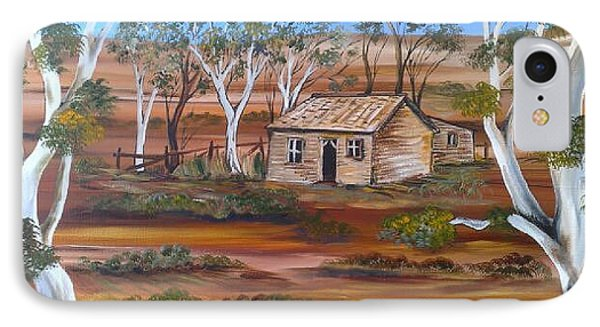 IPhone Case featuring the painting Australian Outback Cabin by Roberto Gagliardi