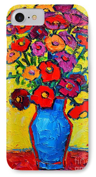 Autumn Flowers Zinnias Original Oil Painting Phone Case by Ana Maria Edulescu