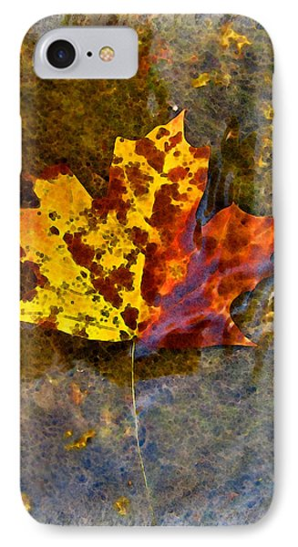 IPhone Case featuring the digital art Autumn Maple Leaf In Water by Debbie Portwood