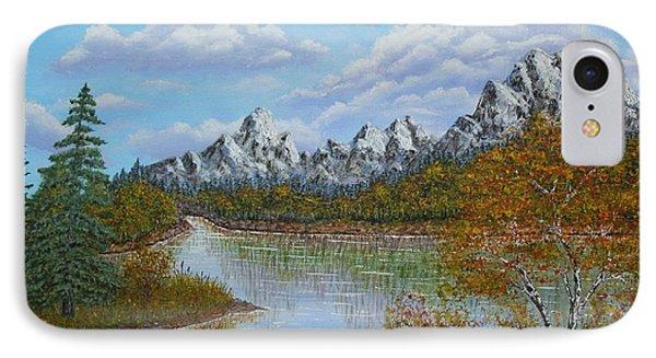 Autumn Mountains Lake Landscape Phone Case by Georgeta  Blanaru