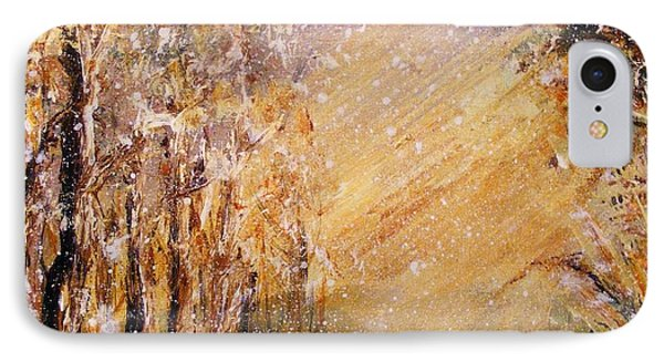 IPhone Case featuring the painting Autumn Snow by Karen  Ferrand Carroll