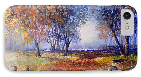 IPhone Case featuring the painting Autumn Wheelbarrow by Lou Ann Bagnall