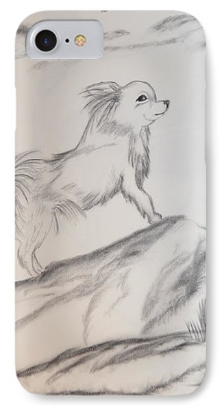 IPhone Case featuring the drawing Aye Chihuahua by Maria Urso