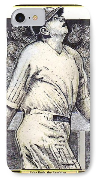 Babe Ruth Hits One Out Of The Park  IPhone Case by Ray Tapajna
