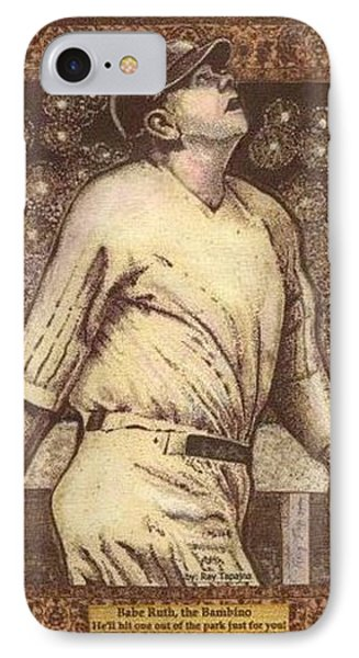 Babe Ruth The Bambino  IPhone Case by Ray Tapajna