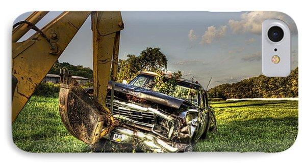 Backhoe Pulling Car Out Of Field Phone Case by Dan Friend