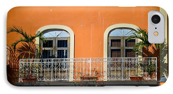 Balcony With Palms Phone Case by Perry Webster